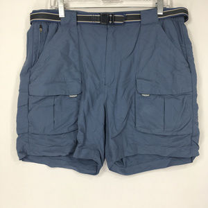 LL Bean L Shorts Cargo Blue Belted Nylon Outdoor